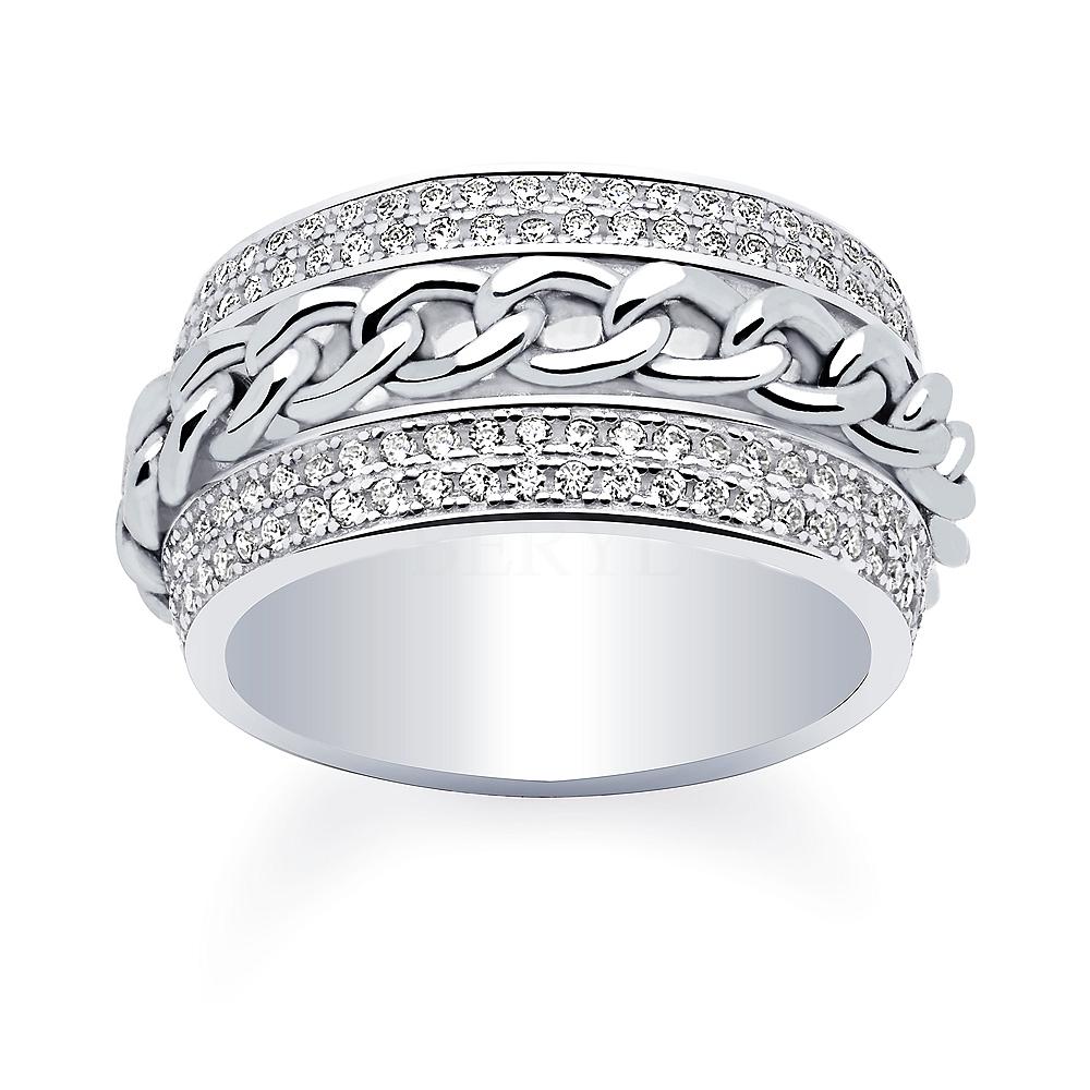Pierścionek srebrny łańcuch z cyrkoniami