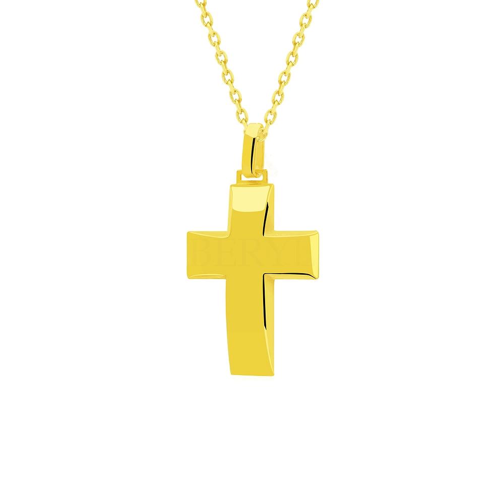 Zawieszka krzyż srebrna pozłacana