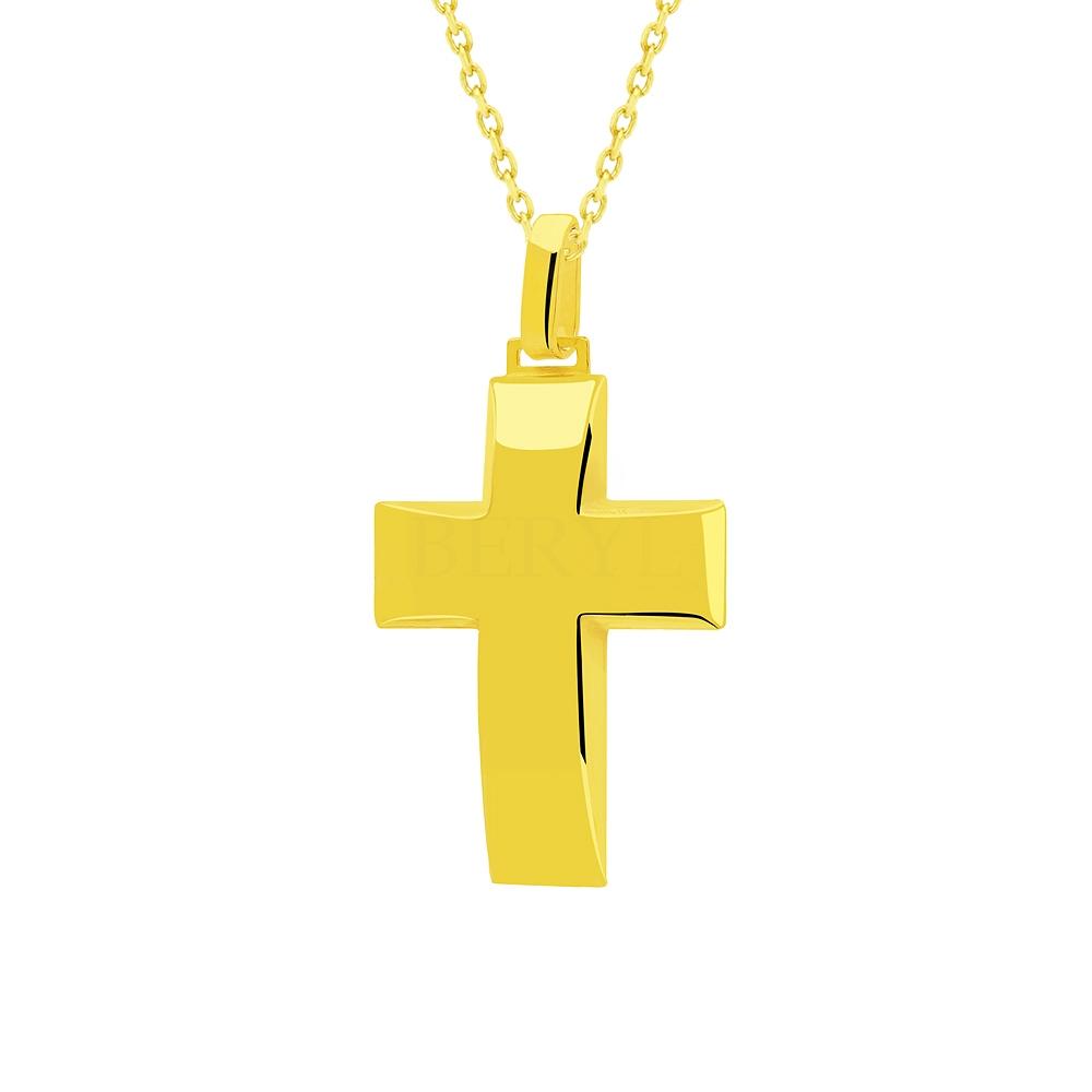 Zawieszka krzyż duży srebrna pozłacana