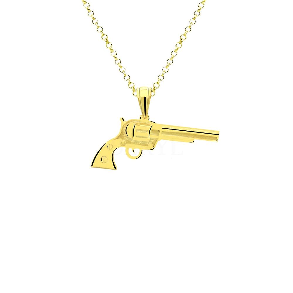 Zawieszka srebrna pozłacana z pistoletem