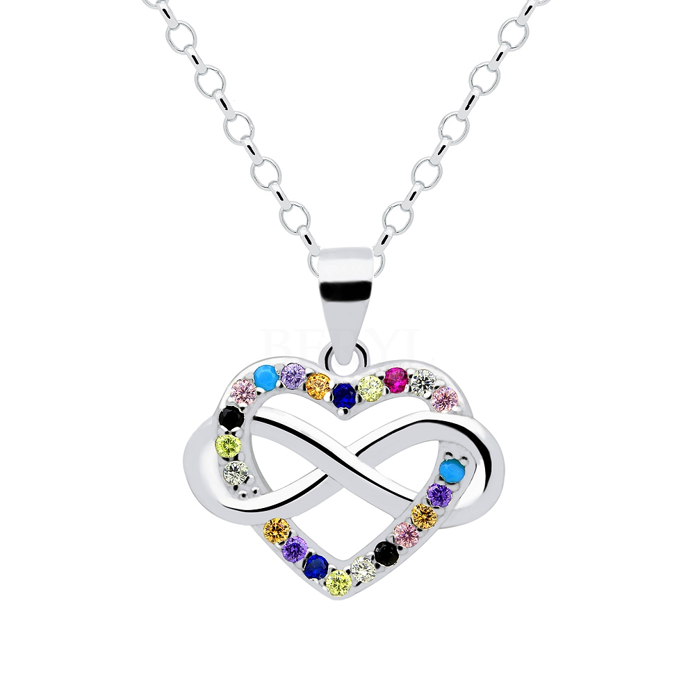 Zawieszka srebrna serce i nieskończoność z kolorową cyrkonią