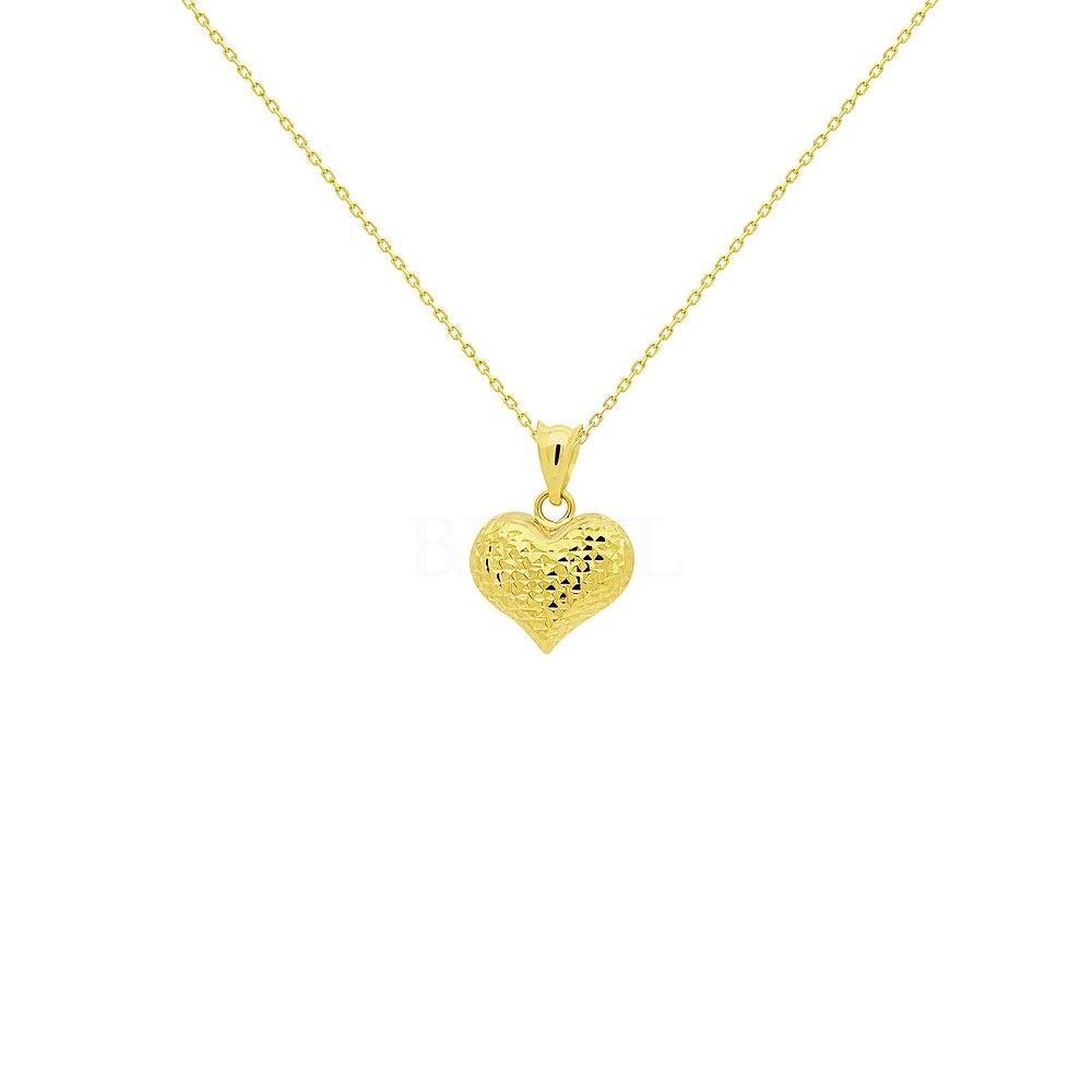 Złota zawieszka serce diamentowane