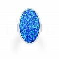 Pierścionek z opalem niebieskim duży srebrny