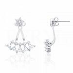 Kolczyki za ucho srebrne gwiazda i trójkąty z cyrkonią