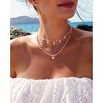 Choker na szyję srebrny pozłacany gwiazdki z różowymi koralikami