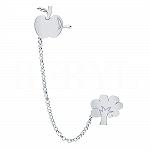 Nausznica z łańcuszkiem srebrna drzewko z jabłkiem - prawa