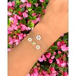 Bransoletka srebrna pozłacana podwójna z białymi kwiatuszkami