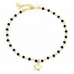 Bransoletka na nogę srebrna pozłacana gwiazdka i czarne kryształki