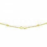 Złota bransoletka znak nieskończoności z błyszczącymi kuleczkami