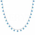 Choker na szyję srebrny z niebieskimi kryształkami