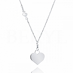 Naszyjnik srebrny z sercem i cyrkonią