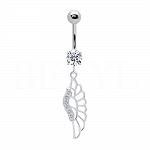 Kolczyk do pępka srebrny skrzydło z cyrkonią - piercing