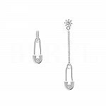 Kolczyki agrafki srebrne z łańcuszkiem i cyrkonią
