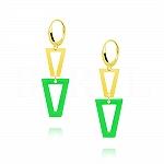 Kolczyki srebrne pozłacane wiszące trójkąty z zieloną emalią