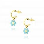 Kolczyki srebrne pozłacane z niebieskim kwiatuszkiem