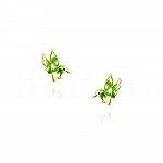 Kolczyki ptaszki zielone srebrne pozłacane