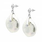 Kolczyki z perłą srebrne wiszące i białą cyrkonią