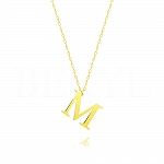 Naszyjnik z literką M srebrny pozłacany 2 cm