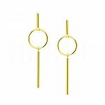 Kolczyki złote wiszące geometryczne