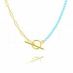 Naszyjnik łańcuch srebrny pozłacany niebieskie koraliki zapięcie toggle