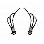 Nausznice srebrne z czarna cyrkonią kwiatuszki
