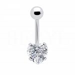 Kolczyk do pępka srebrny serce - piercing
