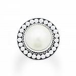 Pierścionek z perłą naturalną srebrny oksydowany