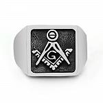 Pierścionek sygnet srebrny masoński