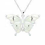 Zawieszka motyl z opalem białym srebrna