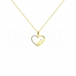 Złota zawieszka serce ze znakiem nieskończoności i białymi cyrkoniami