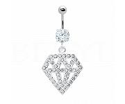 Kolczyk do pępka srebrny diament - piercing