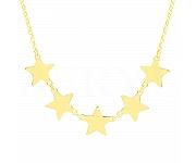 Choker na szyję srebrny pozłacany gwiazdy