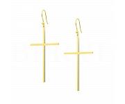 Kolczyki Duże Wiszące Gładkie Krzyże Srebro 925 Pozłacane 24 karatowym złotem