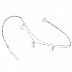 Bransoletka srebrna z cyferką 5 i literką D oraz koniczynką