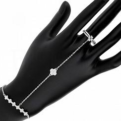 Bransoletka na rękę i palec srebrna z pierścionkiem i cyrkoniami