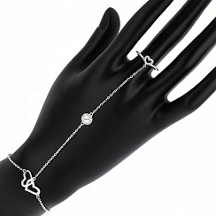 Bransoletka na rękę i palec srebrna z pierścionkiem serduszkiem