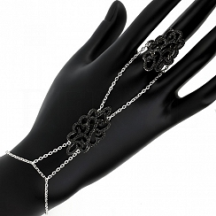Bransoletka na rękę i palec srebrna z czarną cyrkonią
