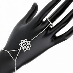 Bransoletka na rękę i palec srebrna kwiatek z cyrkoniami