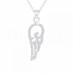 Zawieszka srebrna skrzydełko z cyrkonią