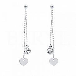 Kolczyki wiszące srebrne łańcuszki z serduszkami i cyrkonią