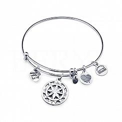 Bransoletka srebrna bangle z zawieszkami róża wiatrów