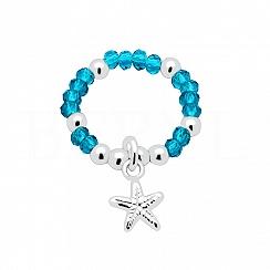 Pierścionek elastyczny niebieskie kryształki z rozgwiazdą