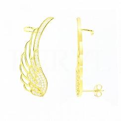 Nausznice skrzydła srebrne pozłacane z białą cyrkonią