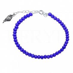 Bransoletka srebrna skrzydło niebieskie koraliki