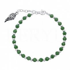 Bransoletka srebrna skrzydło zielone i srebrne koraliki