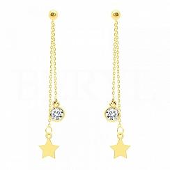 Kolczyki wiszące srebrne pozłacane łańcuszki z gwiazdką i cyrkonią