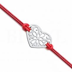 Bransoletka serduszko ażurowe na sznurku czerwonym srebrna