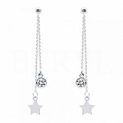 Kolczyki wiszące srebrne łańcuszki z gwiazdką i cyrkonią