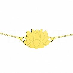 Bransoletka celebrytka srebrna pozłacana kwiat lotosu