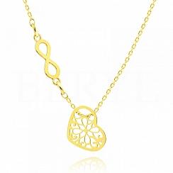 Naszyjnik celebrytka srebrna pozłacana ażurowe serce ze znakiem nieskończoności